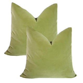 Contemporary Robert Allen Pistachio Velvet Down Pillows - a Pair For Sale