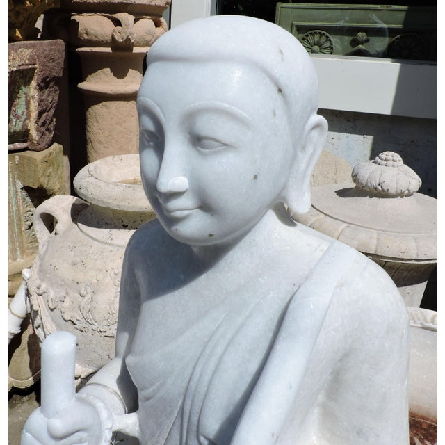Late 19th Century Solid White Alabaster Burmese Traveling Monk For Sale - Image 5 of 8