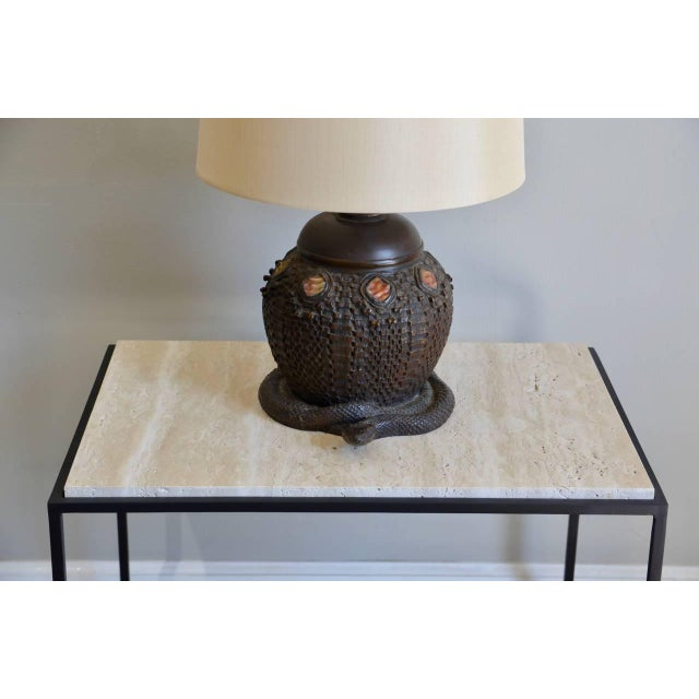 Heavy Tiffany Snake Basket Patinated Bronze Lamp With Custom Silk Shade For Sale - Image 4 of 12