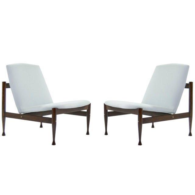 Danish Modern Brass Accented Lounge Chairs - a Pair For Sale