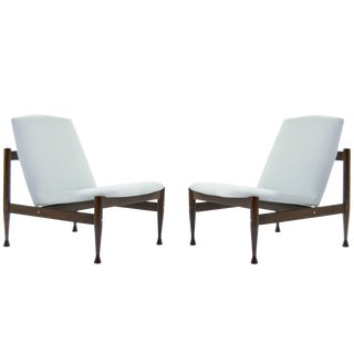 Danish Modern Brass Accented Lounge Chairs in the Style of Finn Juhl For Sale