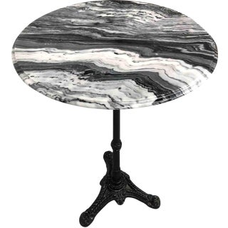 Vintage French Bistro Table in Striated Marble and Cast Iron For Sale