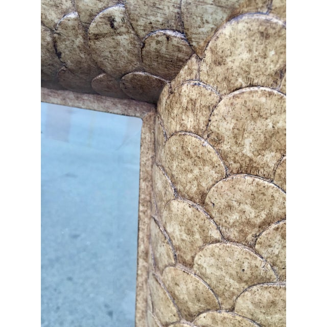 2000s Marge Carson Fish Scale Wood Framed Mirror For Sale - Image 5 of 8