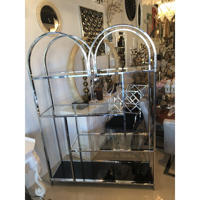Vintage arched chrome with brass accents display shelf shelves étagère. Chrome has been polished. Glass is new with the...