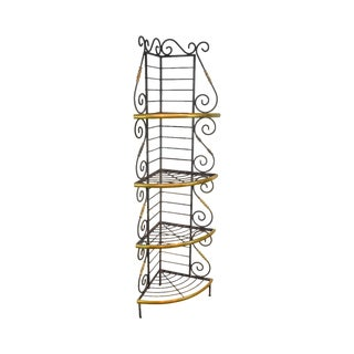French Country Style Vintage Quality Iron & Brass Corner Bakers Rack For Sale