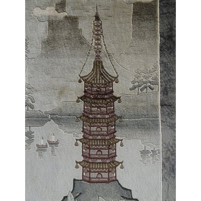 1970s Vintage Chinese Wool Wall Hanging Rug Tapestry 'Temple W Lake and Boats' For Sale - Image 5 of 13