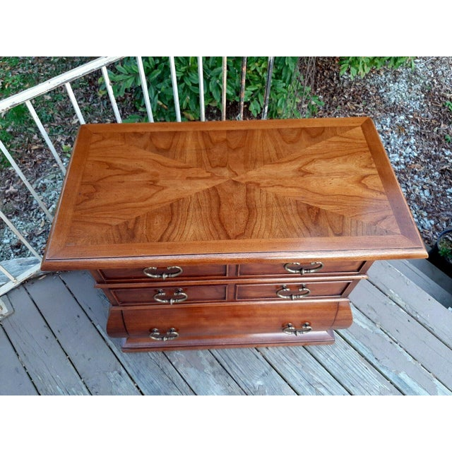 1966 Drexel Et Cetera Kettle Base Walnut 3 Drawer Accent Chest For Sale - Image 6 of 13