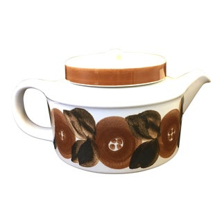 Vintage Arabia of Finland Rosmarin Pattern Tea Pot With Strainer For Sale