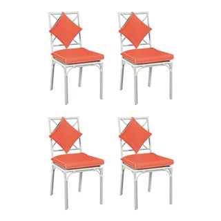 Haven Outdoor Dining Chair, Canvas Melon with Canvas Blush Welt, Set of Four For Sale