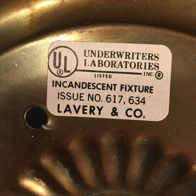 Vintage Lavery & Co. Brass Pendant Globe Lamp For Sale - Image 5 of 7