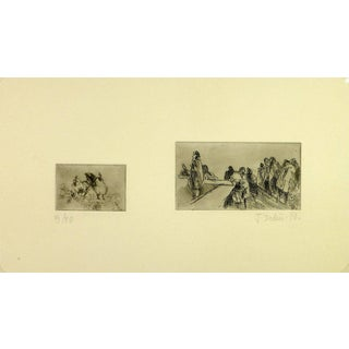 J. Pochin, Landscape Etchings Duo For Sale