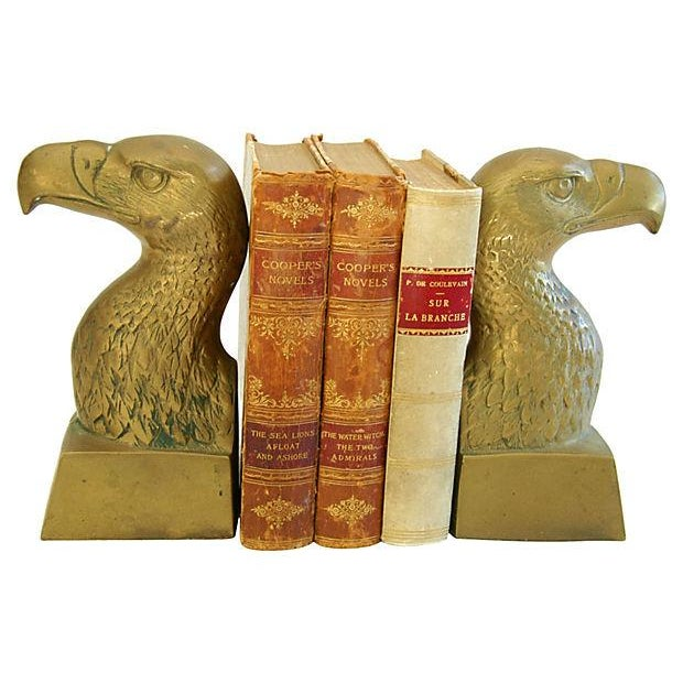 Patriotic 1960s Brass Bald Eagle Bookends - Image 3 of 6