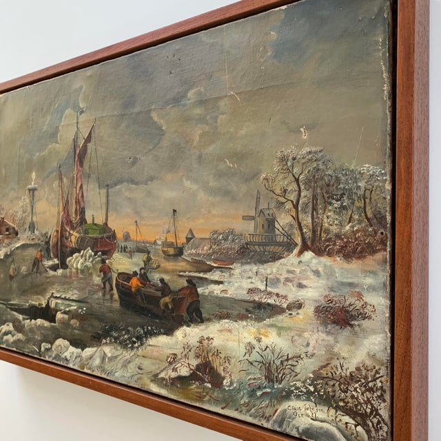 Enchanting 1887 oil on canvas folk art painting depicting a ship stuck in the ice. Most likely inspired by the 16th...