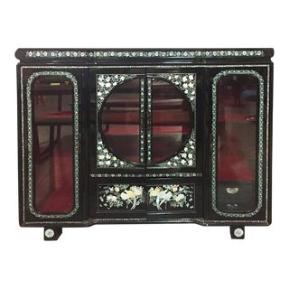 Vintage Chinoiserie Pearl Inlay Display Cabinet