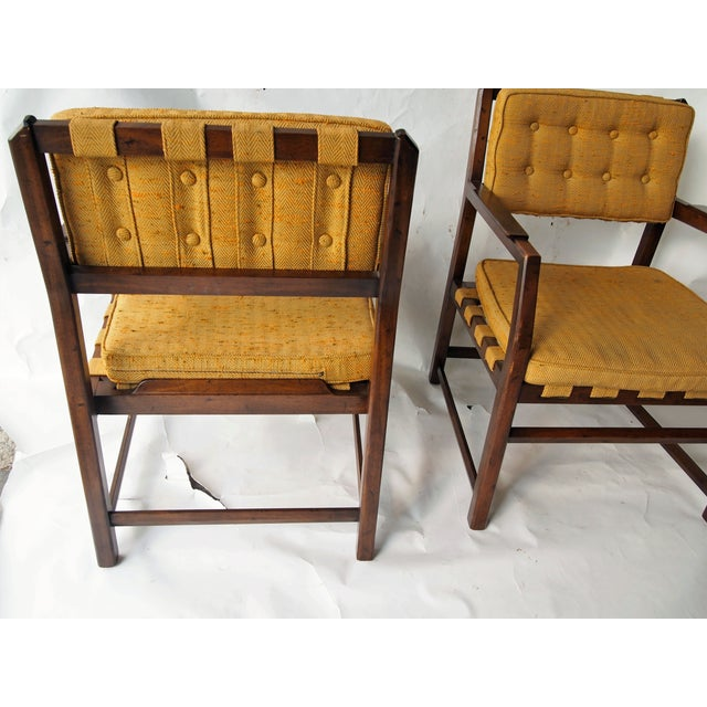 Golden Mid-Century Tufted Chairs - Pair - Image 3 of 6