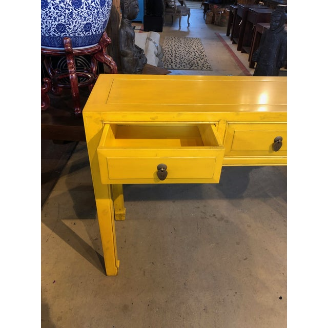 Asian Style Yellow 3-Drawer Console Table For Sale In West Palm - Image 6 of 7