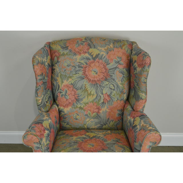 Southwood Chippendale Style Mahogany Frame Floral Upholstered Pair of Wing Chairs For Sale - Image 12 of 13