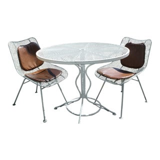 Mid-Century Modern Woodard Sculptura Patio Table Set - 3 Pieces For Sale