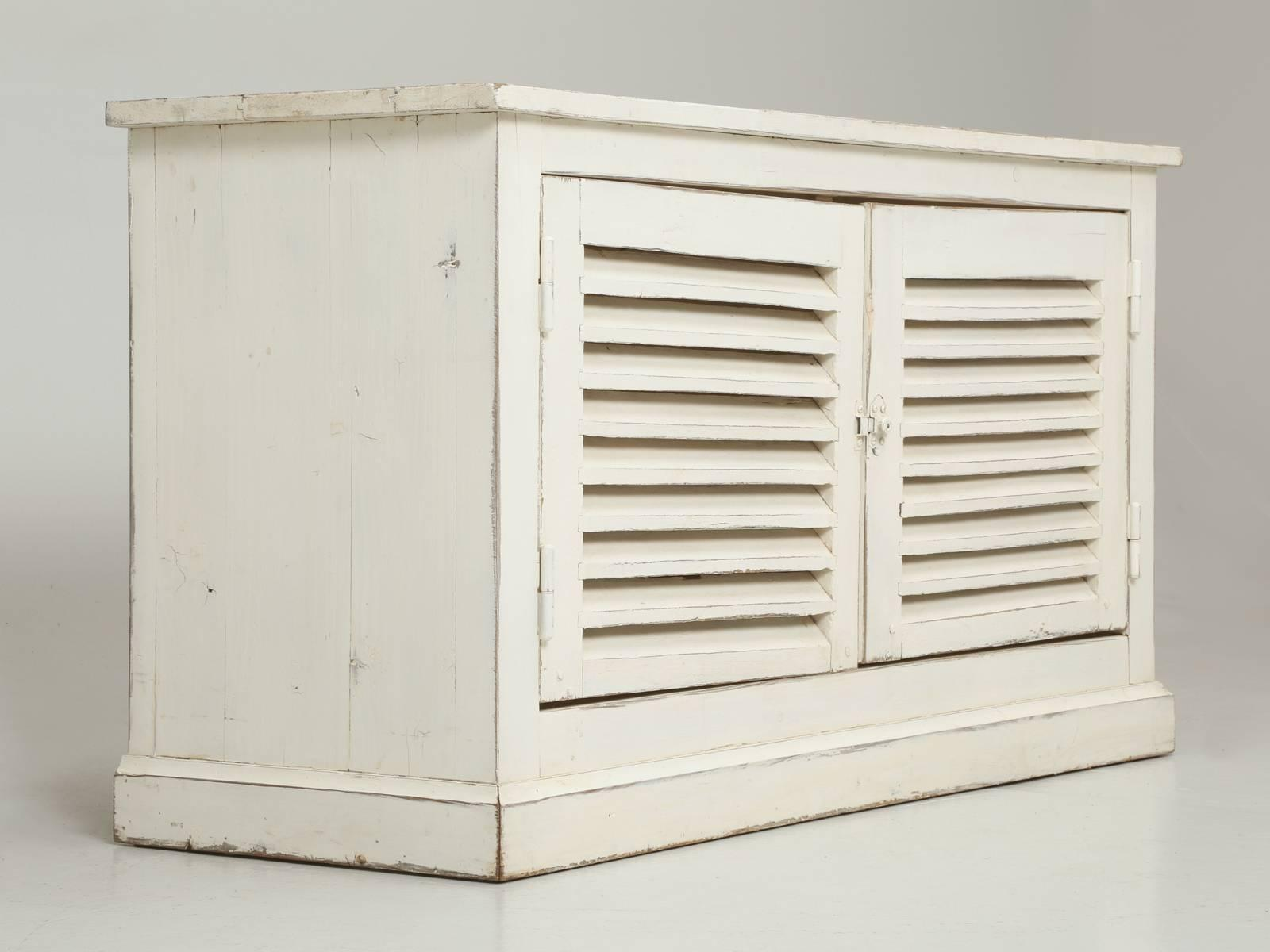 Superieur Country French Louvered Cabinet Or Low Buffet For Sale   Image 10 Of 10