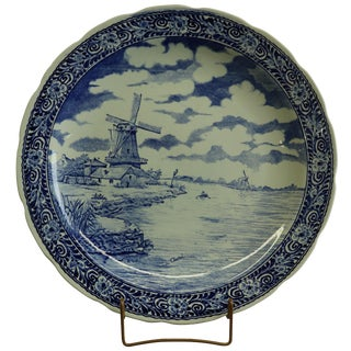 Plate, Signed Chattel Boch Royal Sphinx Blue Delft For Sale
