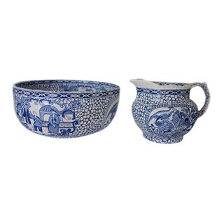 1930's Vintage William Adams Chinese Bird Pattern Bowl & Jug For Sale
