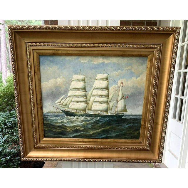 This oil on canvas is a contemporary redesign of a 19th century British sailing ship.