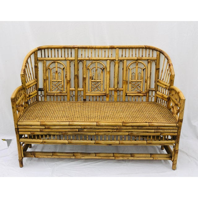 Early 20th Century Vintage Chinese Chippendale Bamboo & Cane Settee For Sale - Image 5 of 13
