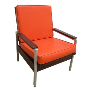 Mid-Century Orange Vinyl Lounge Chair For Sale