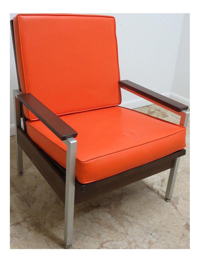 Mid Century Orange Vinyl Lounge Chair