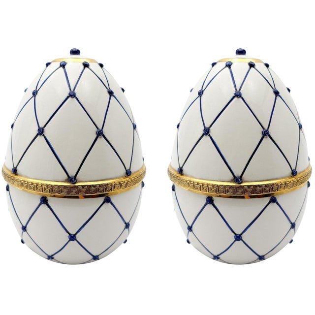 """Sigma L2 Italian Ceramic Rete Blue and Gilt Bronze """"Egg Form"""" Covered Boxes For Sale - Image 10 of 10"""