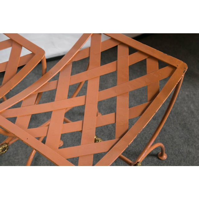 Hollywood Regency Jean Charles Moreux Burnt Orange Tole Benches - a Pair For Sale - Image 3 of 9