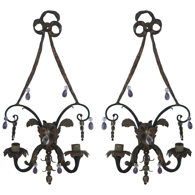 Early 19th Century 19th Century French Rock Crystal and Amethyst Sconces - a Pair For Sale - Image 5 of 5