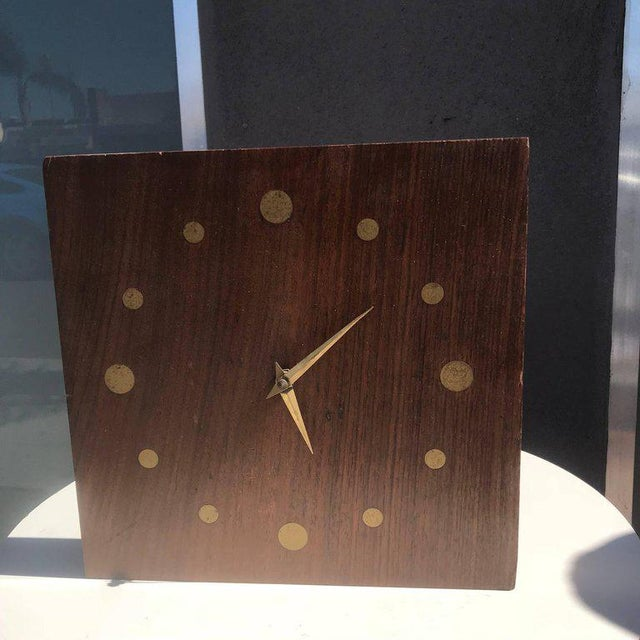 Mid-Century Modern Wall Rosewood and Brass Clock For Sale - Image 4 of 5