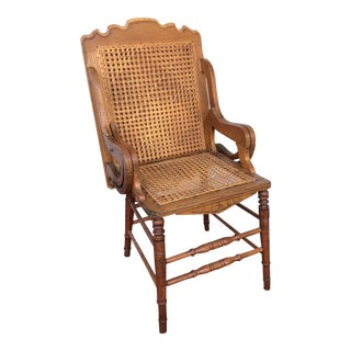 Antique Chair Folding Cane Game Table For Sale