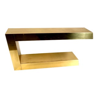 Karl Springer Cantilevered Brass Console Table For Sale