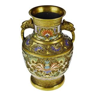 Vintage Japanese Brass Champleve Urn Shaped Vase With Figural Handles For Sale