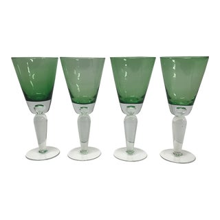 1980s Lime Green Contemporary Wine Glasses - Set of 4 For Sale