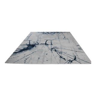 Brush Stroke Blue Abstract Rug - 5'3''X 7'7''
