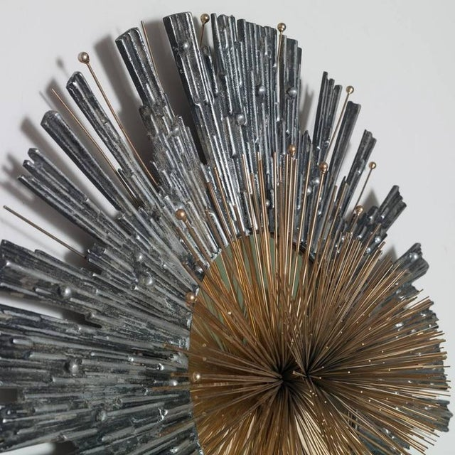 Curtis Jere Late 20th Century Vintage Curtis Jere Aluminum & Brass Wall Hanging Starburst For Sale - Image 4 of 5