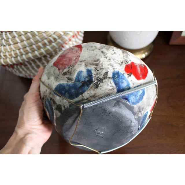 Vintage Handmade Hand Glazed Studio Art Black Clay Pottery Bowl For Sale In Los Angeles - Image 6 of 8
