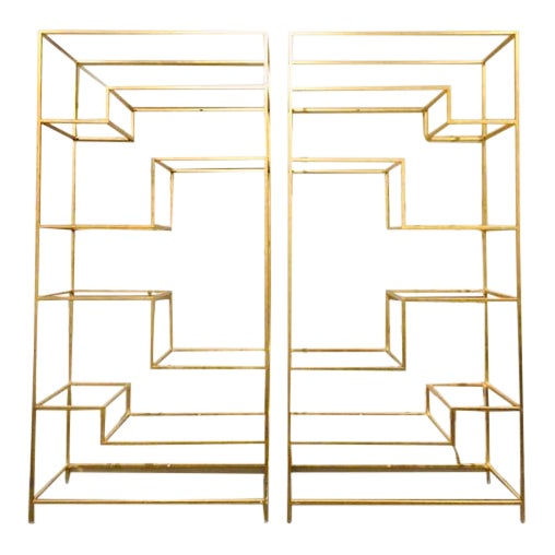 Hollywood Regency Dwell Studio Gold Etageres With Mirrored Shelves - a Pair For Sale