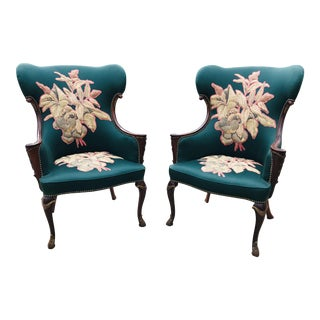 Late 19th Century Carved Mahogany Wingback Chair - a Pair For Sale