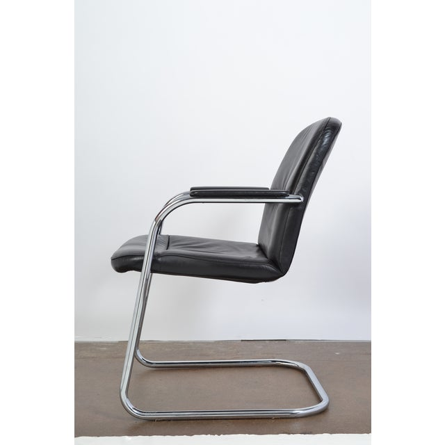 Mid-Century Leather & Chrome Armchairs - A Pair - Image 6 of 10
