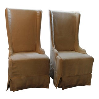Padma's Plantation Atlantic Beach Wing Slipcovered Beige Chenille Textile Dining Chairs - a Pair For Sale