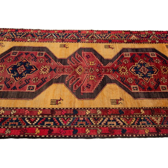 """Yellow Apadana - Vintage North West Persian Rug, 4'4"""" X 10'8"""" For Sale - Image 8 of 9"""