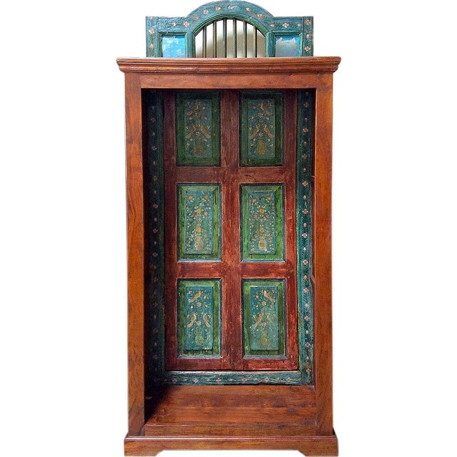 Green-Hued Hand Painted Bookcase - Image 1 of 3
