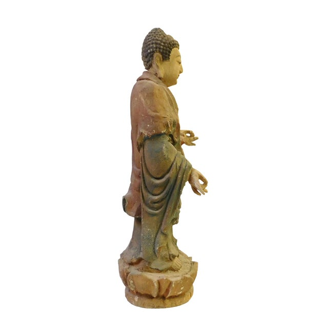 Chinese Rustic Wood Standing Buddha Statue - Image 5 of 8