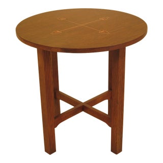 Stickley Mission Oak Round Inlaid Occasional Table