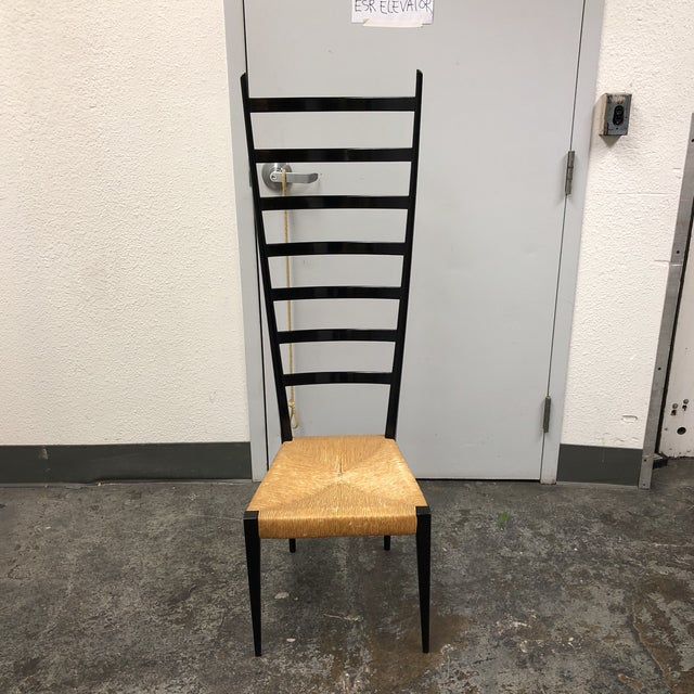Design Plus Gallery presents a mid-century Italian side chair. The high back ladder frame is wood in a black finish with...
