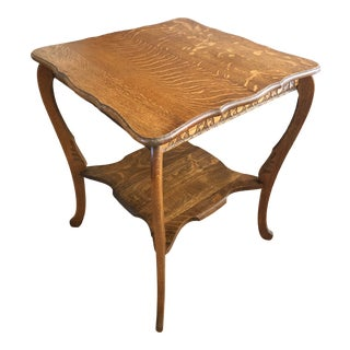 "Antique ""Tiger's Eye"" Quarter Sawn Oak Center Table For Sale"